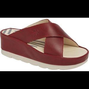 FLY London ❤️ Red Platform Slide Sandals